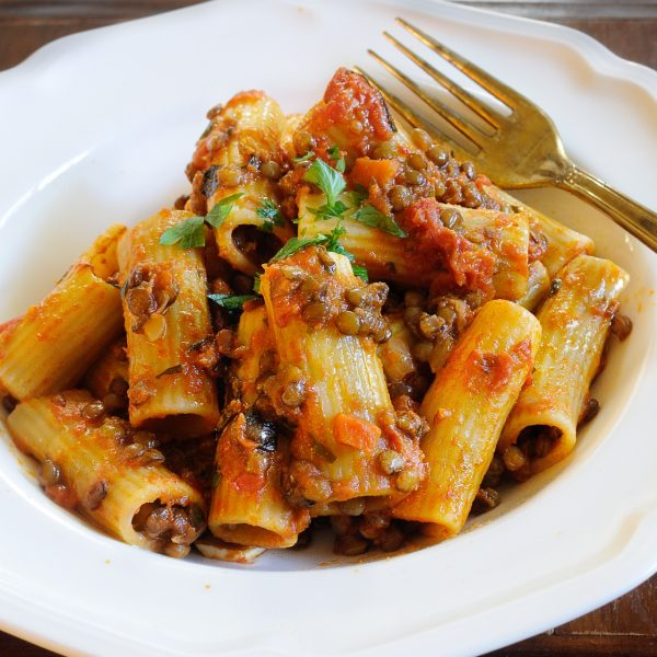 Lentil Ragu with Rigatoni